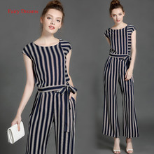 Fairy Dreams 2 Piece Set Women Shirt Trousers Tops And pants Striped Suits The Feminine 2017 Office Lady Summer Fashion Clothing