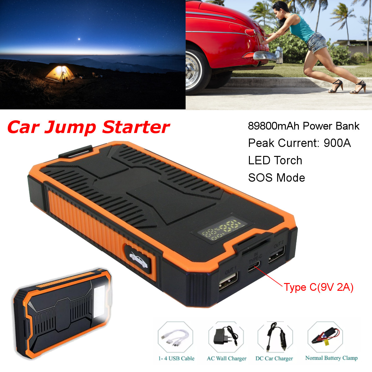 все цены на 89800mAh Car Jump Starter Power Bank Portable Car Battery Booster Charger 9V 2A Starting Device Type C Dual USB 3.0 Fast Charger онлайн