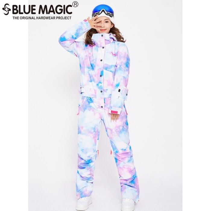 Синий волшебный водонепроницаемый Сноубординг цельный лыжный комбинезон женский сноуборд-30 градусов лыжный костюм зимняя одежда комбинезон - Цвет: NEW COLORFUL CLOUD