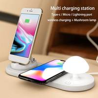 Multi wireless charging station for samsung iphone quick charger for huawei lg type c micro port charging dock with led light