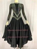 Черный Бальные конкурс юбка для танцев Для женщин Sexy Back Танго Танцы костюм для взрослых индивидуальный заказ Стандартный Бальные платья