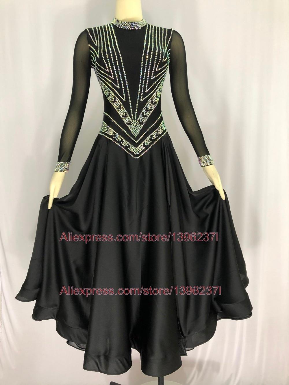 Black Ballroom Competition Dance Skirt Women Sexy Back Tango Dancing Costume Adult Custom Made Standard Ballroom Dress