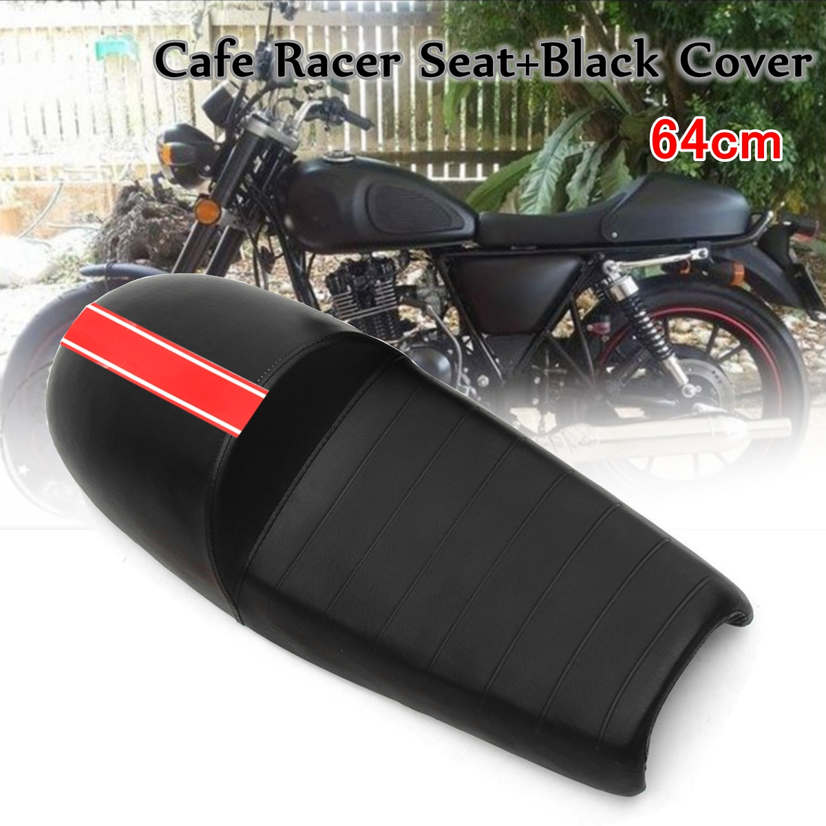 все цены на Universal Black 64cm Motorcycle Leatherette Custom Hump Saddle Cafe Racer Seat Cushion + Cover with Black Red Sticker