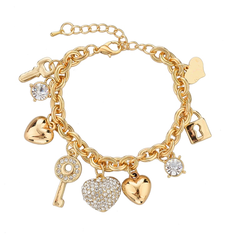 Fashion Heart Beetle Charm Bracelets Bangles For Women Real Gold