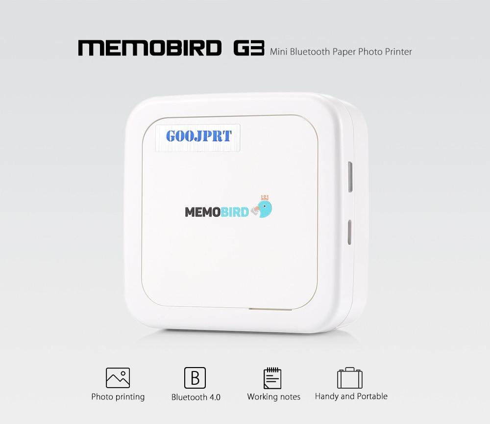 GOOJPRT G3 MEMOBIRD Mini Bluetooth Paper Photo Printer Thermal Printing  Portable Real Time Printing