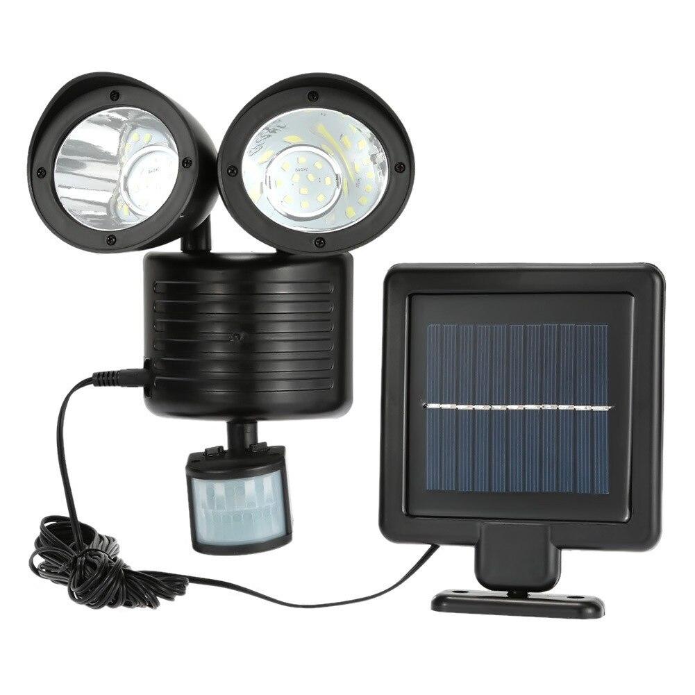 dcoo 22led solar lampada 2 cabeca sensor de movimento luz de parede a prova dwaterproof agua