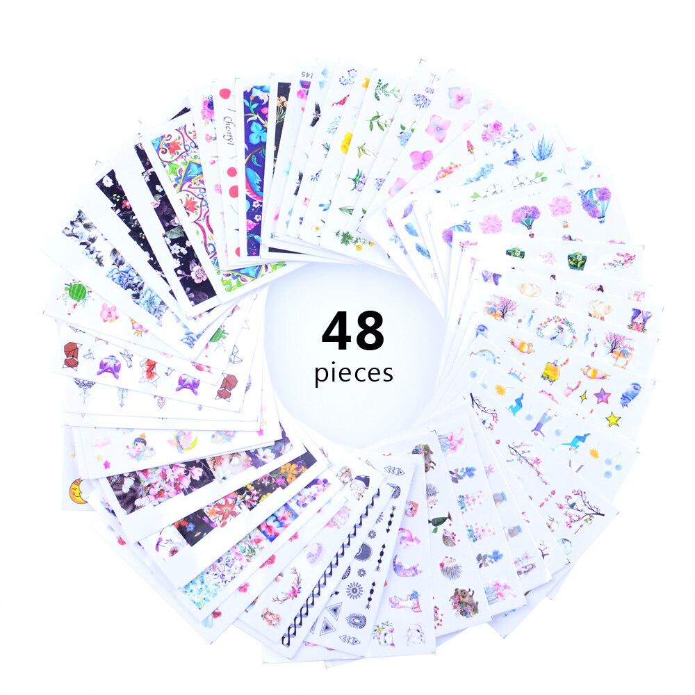 48 Uds acuarela Floral flor pegatina adorno de uñas conjunto Flamingo carta diseño manicura de Gel, decoración de control deslizante de agua de papel de aluminio|Pegatinas y calcomanías| - AliExpress