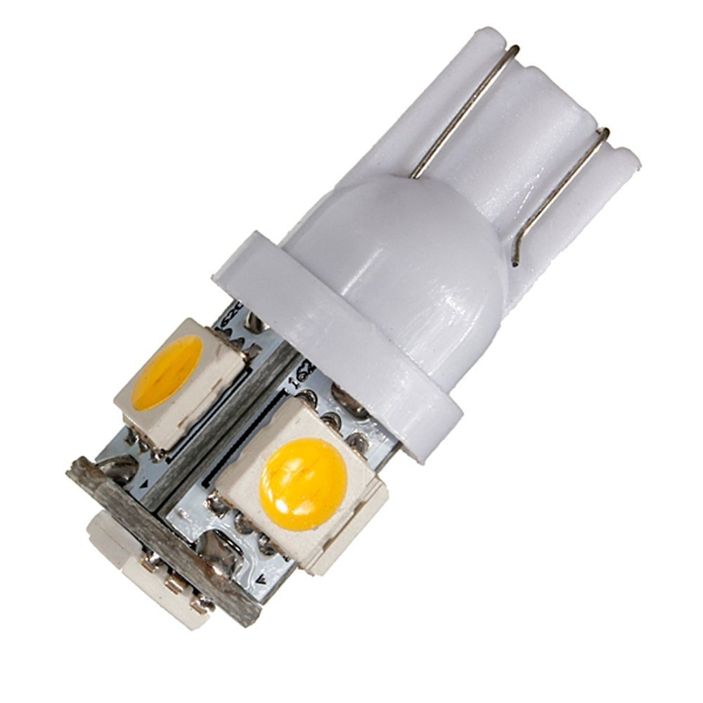 Kit 10 Par Led Pingo 5 Smd 4300k Branco Quente T10 W5w Warm White