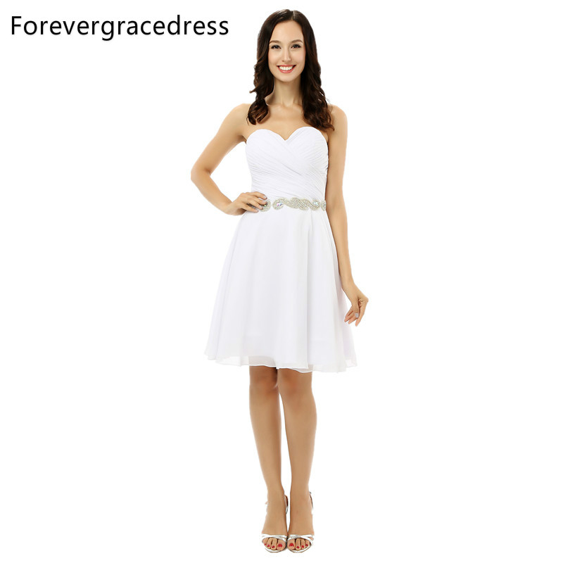 Forevergracedress White A Line Cocktail Dress New Beaded Sleeveless Knee Length Short Evening Party Gown Plus Size Custom Made