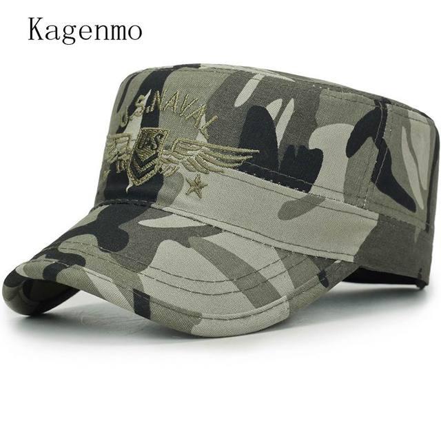Kagenmo 2018 primavera nuevo estilo sombrero del ejército moda camuflaje  unisex Sombreros militares al aire libre d719de77e34