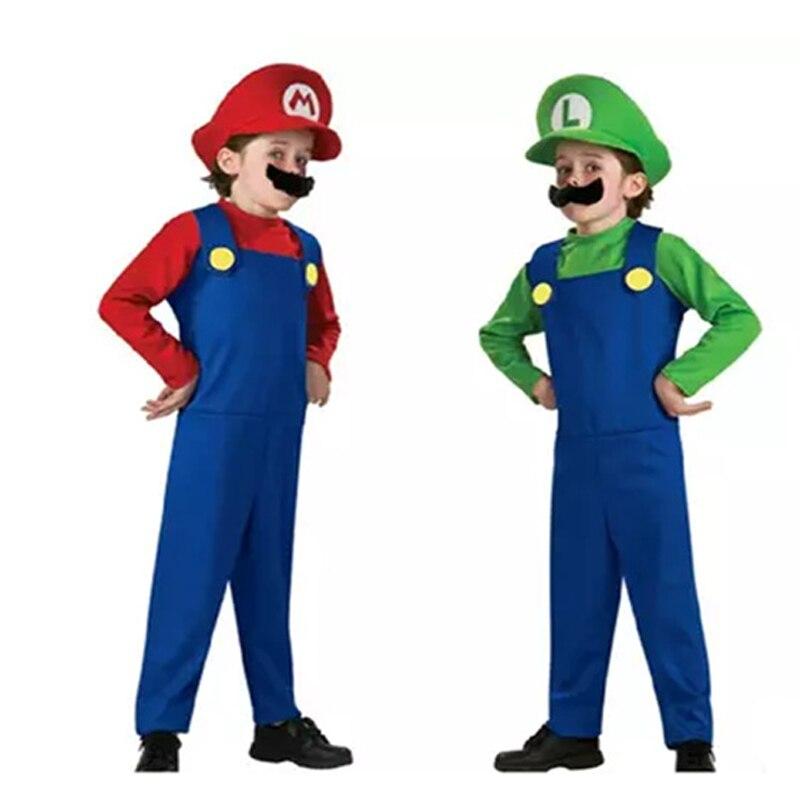 Костюм для взрослых и детей с принтом «супербратья Марио» для костюмированной вечеринки танцев комплект одежды, детская одежда для Хэллоуи...