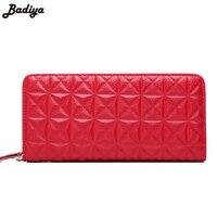 Luxury Ladies Genuine Leather 3D Diamond Plaid Purse Case Clutch Women Long Wallet Phone Coin Purses