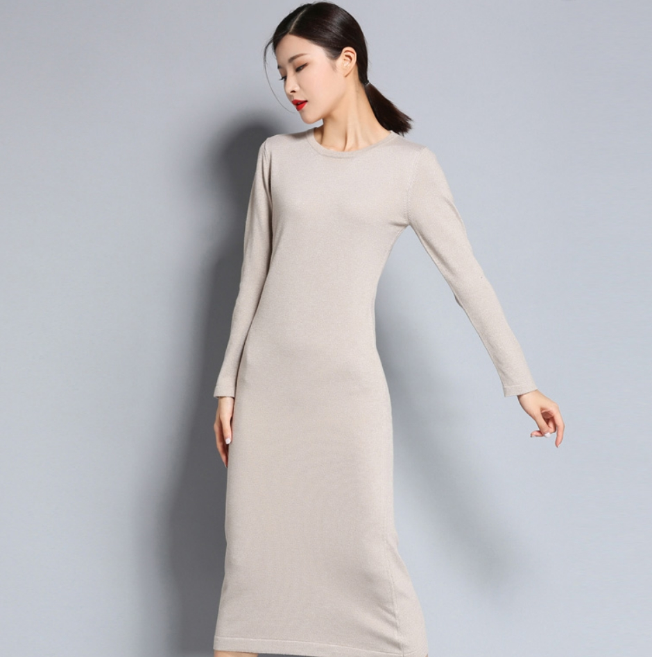 2019 Spring And Autumn Women's Knitted Cashmere Wool Dress Round Collar Long Style Solid Color Dress Free Shipping