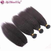 AliBlissWig Kinky Straight Human Hair Bundles With Closure Brazilian Remy Italian Yaki Hair Weft And 3.5*4 Lace Closure