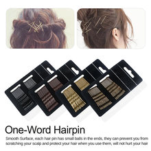 24 pcs Metal Waved Hair Clips Salon Pins Grips Hairpins Barrette Black High-end No Paint One-word elegant style Hairpin