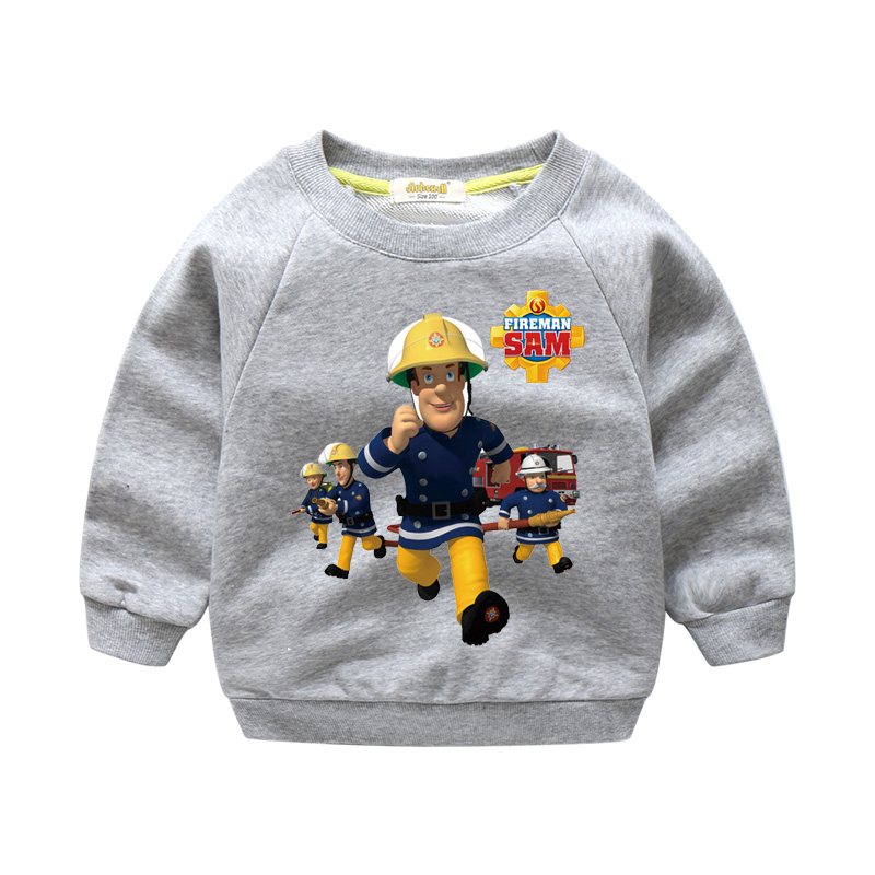 2018 New Year Children Cartoon Fireman Sam Printing Shirts Boy Girls Tops Clothes Kids 100%Cotton Sweater For Kids Costume WY005