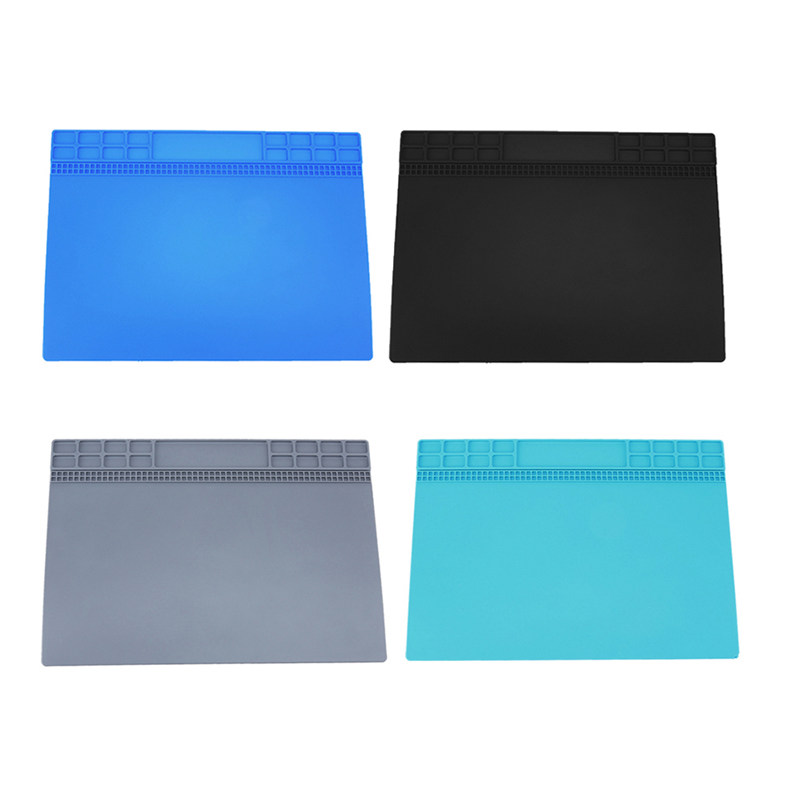 Heat-resistant Soldering Mat Silicone Heat Gun Soldering Station Insulation Pad Repair Maintenance Platform Mat Blue/Gray/Black diy silicone thermal pad heat conduct mat for heat sink blue 400mm x 200mm x 1mm