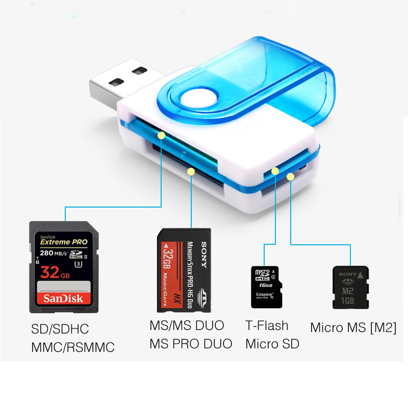 External Sd Card Reader Usb 2.0 OTG Type C Card Micro Memory Multi Tf Ms M2 Reader