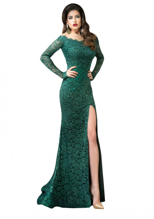 8b5846991a18 BS 2015 Vestidos Long Sleeve Off-the-shoulder Mermaid Green Lace Prom Dress  With Slits