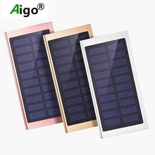 Aigo Ultra Thin 18650 Solar Panel 10000mAh Capacity Power Bank Polymer Battery Dual USB Charger Power Supply For iphone se