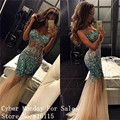 Vestidos de noche 2017 Robe de Soirée Cristales de Lujo Con Cuentas Fuera del Hombro Vestido de Noche Largo de La Sirena de Baile Vestido Vestidos