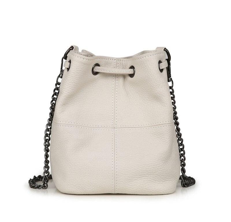 MJ Genuine Leather Women Bag Chain Crossbody Handbag Female Real Cow Leather Bucket Shoulder Bags Small Messenger Bag for Girls (12)
