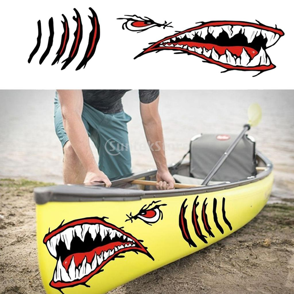 2x Shark Teeth Mouth Eyes Stickers Kayak Fishing Boat Car Truck Window Decal