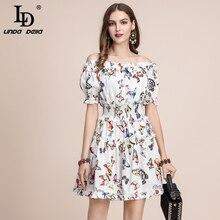 LD ファッション夏ショートドレスの女性のスラッシュネック弾性ウエスト蝶プリントフリルエレガントコットンドレス リンダ ·