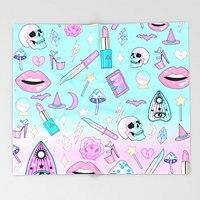 Girly Pastel Goth Witch Pattern Throw Blankets 51 x 60 Blanket