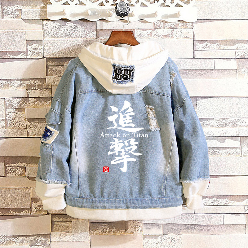Image 3 - Cosroad Attack on Titan Jeans Jacket Scout Regiment Cosplay Denim Jacket Autumn Hooded Sweatshirt Outwear Coat-in Anime Costumes from Novelty & Special Use