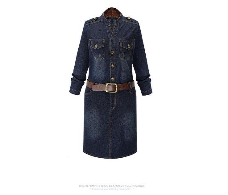 Européenne-Amérique Style Long Manches Denim Robe 2016 Automne Robes Avec  Ceinture Mince Bouton Robes Grande Taille Élastique Robe FD202 380d7c15623