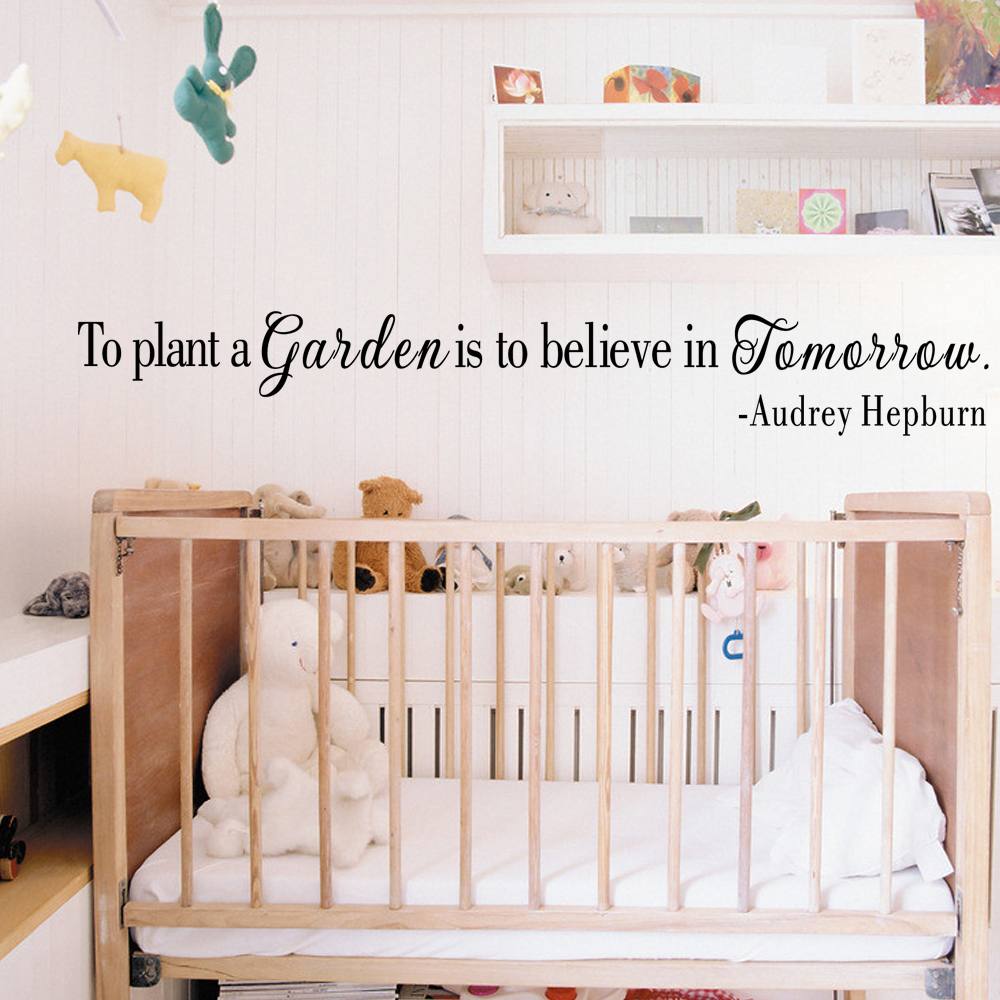 Audrey Hepburn Vinyl Wall Decal Quote Wall Sticker To Plant A Garden Is To Believe In Tomorrow 10m x86cm