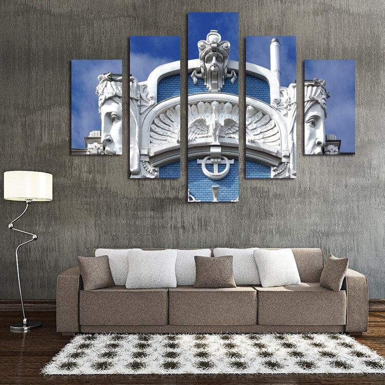 Roman Style Building Unframed 5 Pcs High Quality Cheap Art
