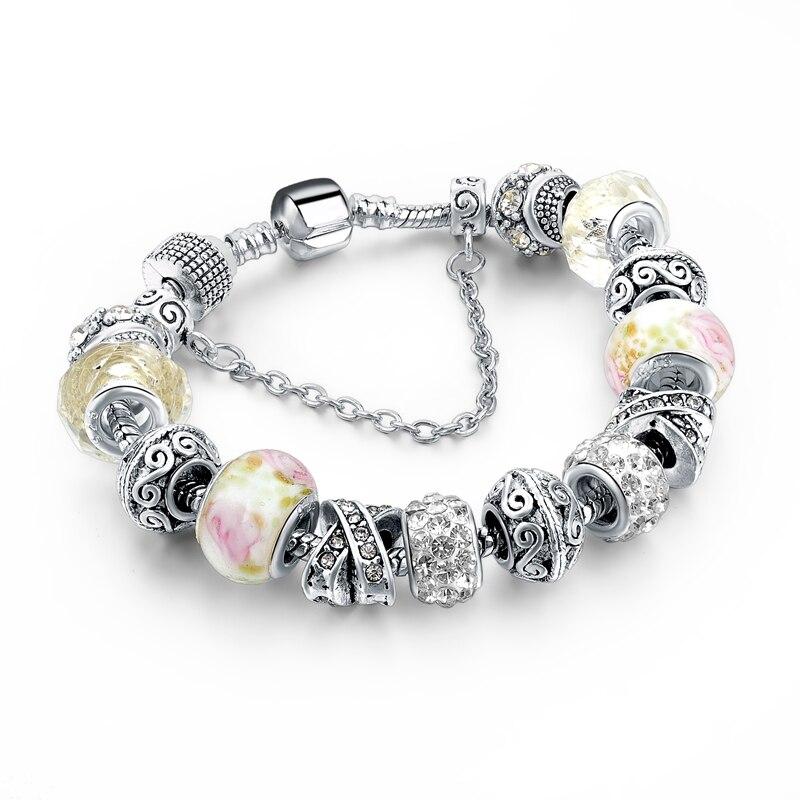 CHICVIE Black Crystal Chain Link Bracelets For Women Female Charm Custom Bracelets & Bangles DIY Silver Color Jewelry SBR160014 23