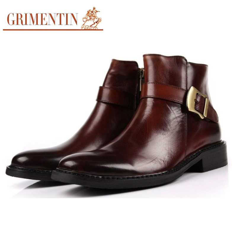 Grimentin Brand Luxury Mens Dress Boots Genuine Leather