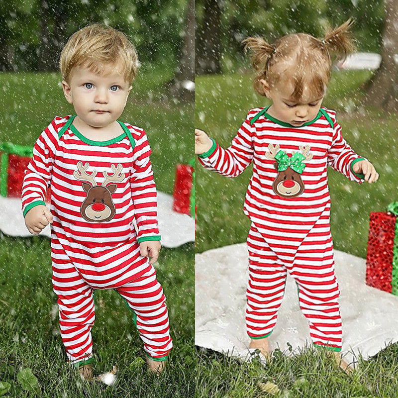 CANIS Brand Cotton Blend Christmas Newborn Kids Baby Boys Girls Striped Pajamas Sleepwear Romper Body Suit 0-24M 2016 brand new baby girls rompers fleece body warmer coral velvet pink monkey pajamas sleepwear comfortable outfit free shipping