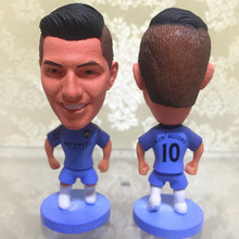 Soccerwe 2016-17 Season Football Star Dolls 6.5 cm Height Resin City 10 Kun Aguero Figurine Blue Kit Collections Gift(China)