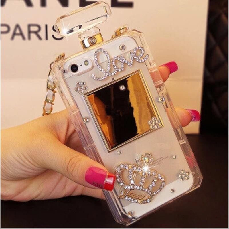 Luxury Bling Crystal Diamond Chain Handbag Perfume Bottle Lanyard Case For IPhone 5 5s Se 6 6s