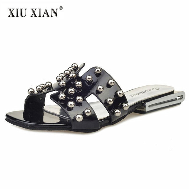 8ec76577d4662 2018 New Personality Beads Women Flip Flops Top Design Fashion Lady Summer  Beach Slippers Non Slip Waterproof Home Floor Slipper