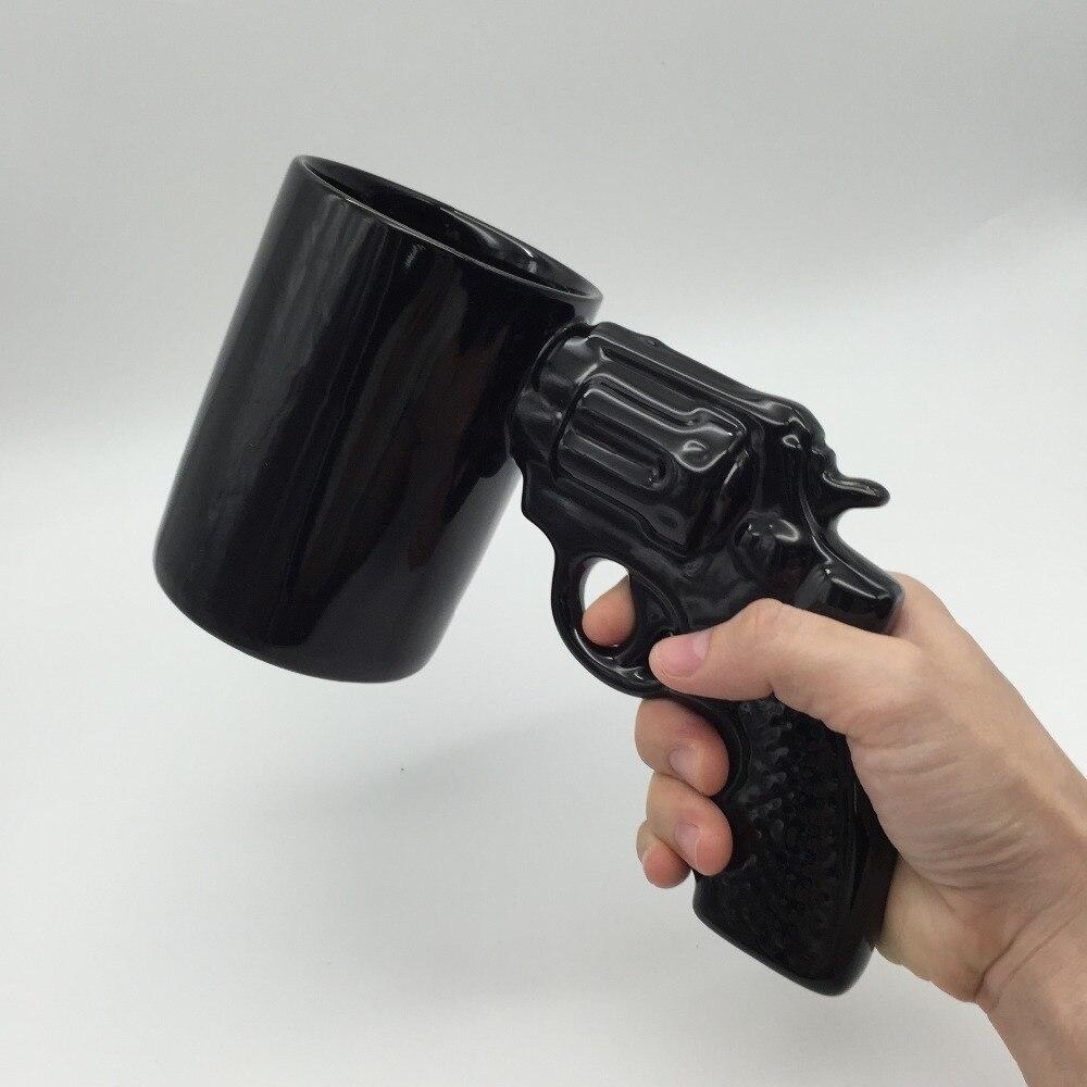 1Piece Pistol Grip Coffee Cups Revolver Ceramics Cup Gun Shape Mugs Milk Tea Cup Creative Office Supplies Drinkware FreeShipping