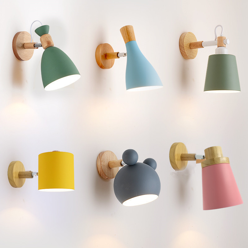 wooden wall lights bedside wall lamp bedroom wall light sconce for kitchen restaurant modern wall lamp Nordic macaroon sconceswooden wall lights bedside wall lamp bedroom wall light sconce for kitchen restaurant modern wall lamp Nordic macaroon sconces