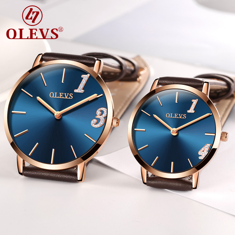 Amoureux montre couples montres femmes hommes en cuir Quartz montre-bracelet de luxe marque OLEVS Original Forever Love 1314 étanche horloge