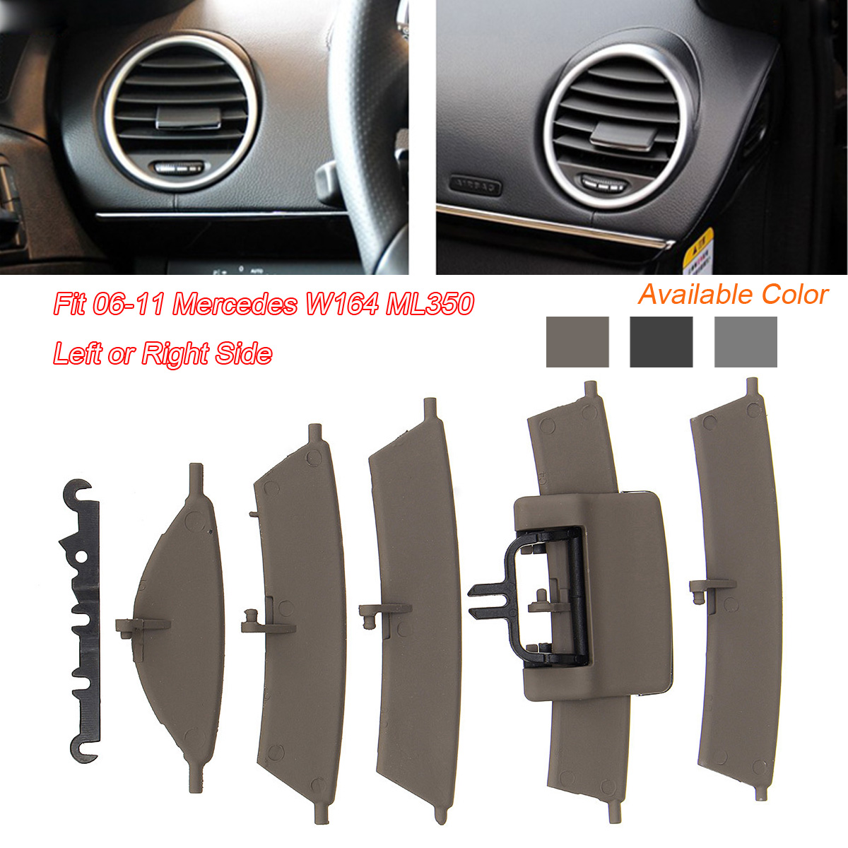 High quality Left/Right Side Plastic Car Front AC A/C Heater Air Vent Grill Fit for Mercedes W164 ML350 2006-2011 цена