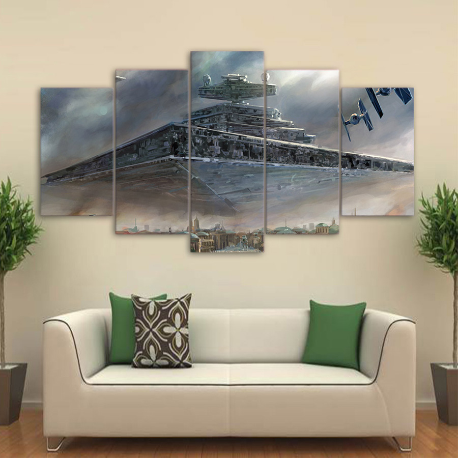 Hd 5 Piece Canvas Art Printed Star Wars Painting Livingroom Wall