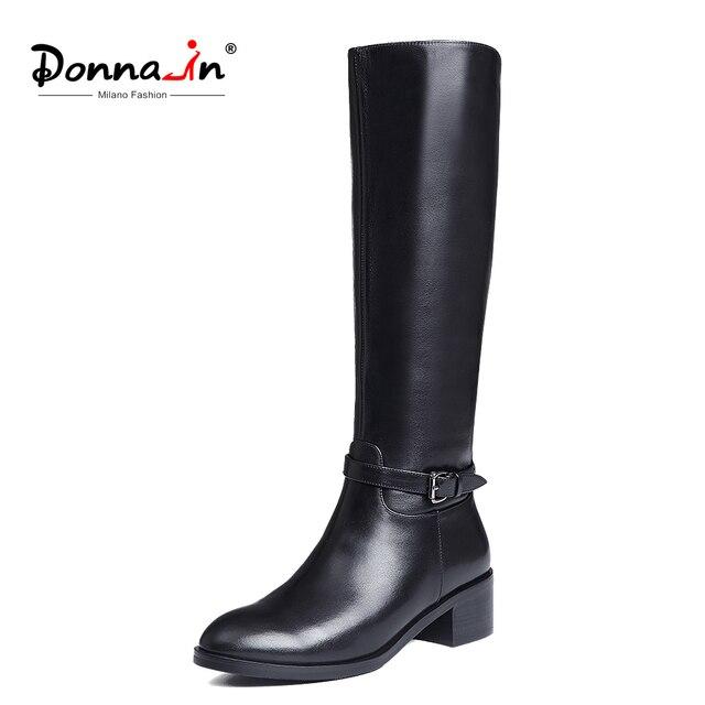 ドナ冬のブーツの女性のニーハイブーツ毛皮暖かいブーツ新しいファッションリアルレザーの女性の靴ラウンドトウヒール黒の女性 2019