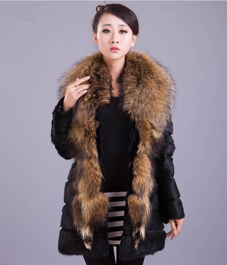 New 2016 Women Warm Real Rabbit Fur Coat with Huge Whole Raccoon ...
