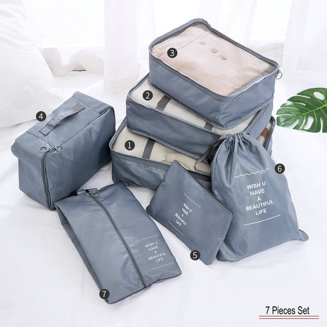 7 Pieces Travel Organizer Set Quality Suitcase Luggage Clothes Storage Shoe Bags For