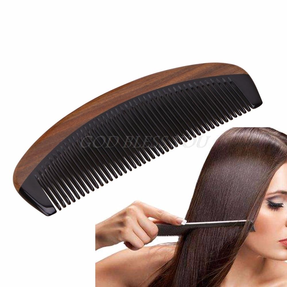 16x5.5cm Natural Green Sandalwood Ox Horn Wood Comb Beard Makeup Tool Massage Hair Care Black+Brown Color Drop Shipping
