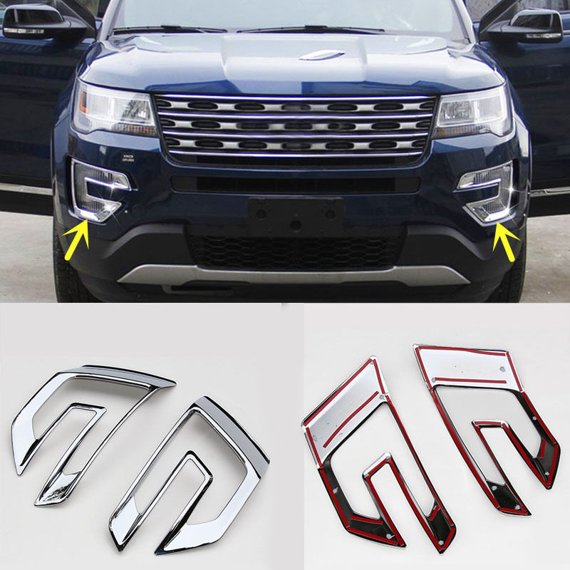 2pcs ABS Plating Front Fog Light Decorative Frame Cover for Ford Explorer 2016-2018 ...