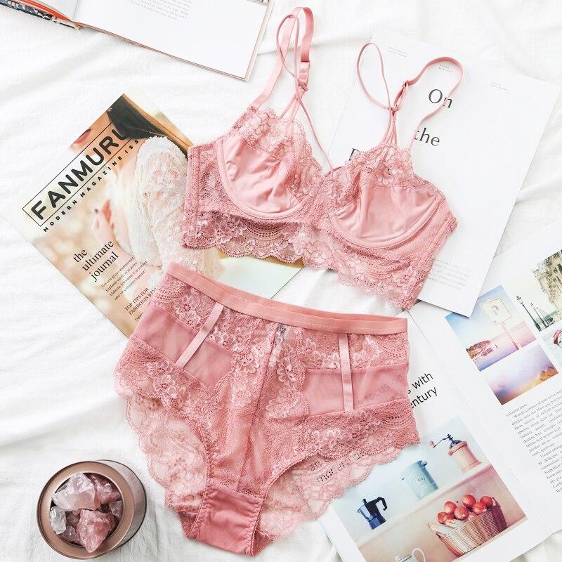 c57af765b2d6 TERMEZY clásico vendaje Conjunto de sujetador Rosa Lencería Push Up  Sujetador de encaje conjunto de ropa interior Sexy de cintura alta para  mujer 2018